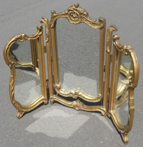 Gilt Triple Dressing Mirror by Atsonea